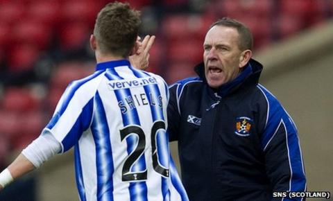 Kenny Shiels salutes his son, Dean, after the match-winning goal
