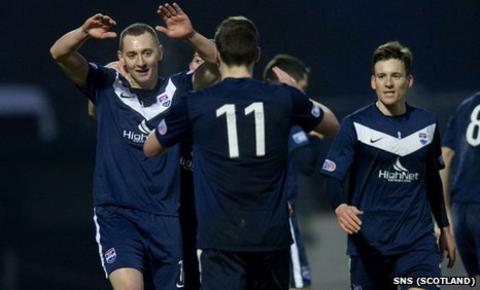 Ross County's Sam McMorrow (left) celebrates his late goal