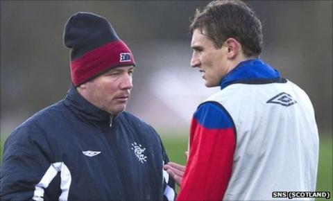 Rangers manager Ally McCoist and Nikica Jelavic