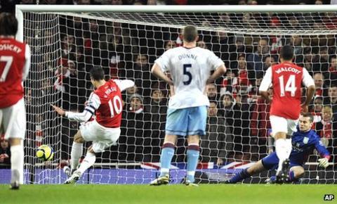 Robin van Persie takes a penalty