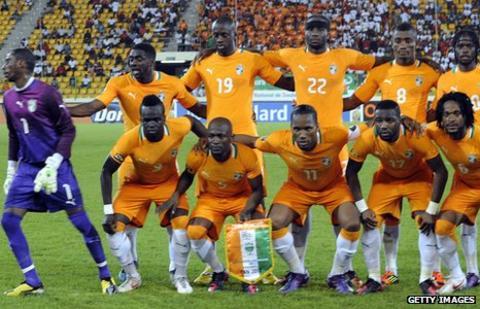 The Ivory Coast team line up ahead of their game against Burkina Faso team