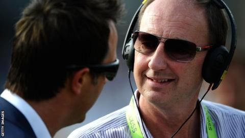 BBC Sport's cricket correspondent Jonathan Agnew talking to former England captain Michael Vaughan on TMS