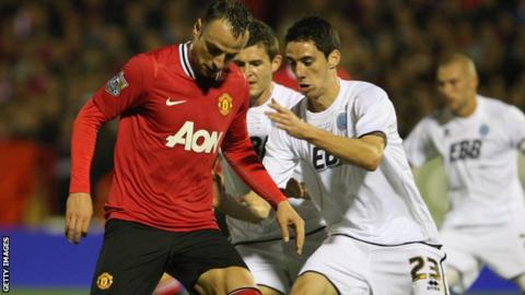 Peter Vincenti against Man Utd