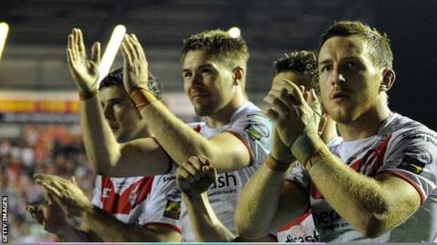 Saints celebrate after play-off semi win over Wigan