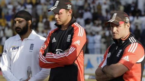 Monty Panesar, Stuart Broad and Andrew Strauss