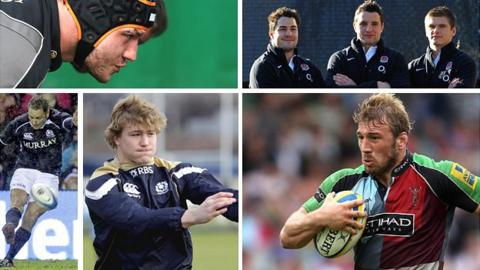 Clockwise from top left: Scotland prop Euan Murray, England debutants Brad Barritt, Phil Dowson and Owen Farrell, England captain Chris Robshaw in action for club side Harlequins, Scotland number eight David Denton and Scotland fly-half Dan Parks