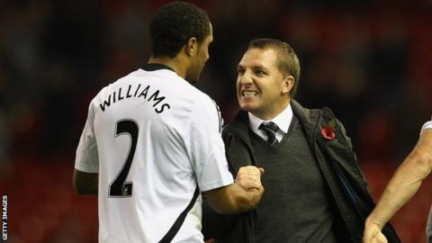 Ashley Williams and Brendan Rodgers