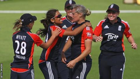 Katherine Brunt (second right) is congratulated after taking a wicket