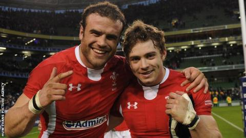 Jamie Roberts and Leigh Halfpenny celebrate Wales' win in Ireland