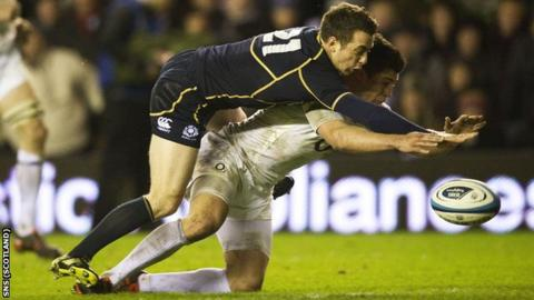 Greig Laidlaw in action against England at Murrayfield