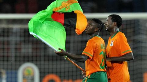 Zambian players celebrate their win