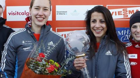 Yarnold and Rudman on the podium at the Calgary World Cup race