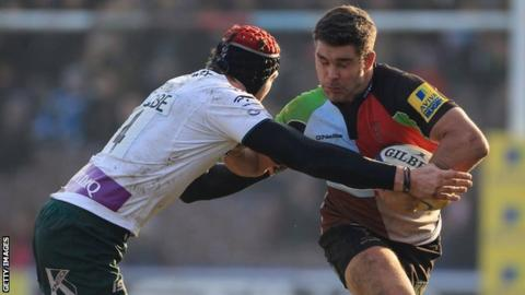 Harlequins' Nick Easter is tackled