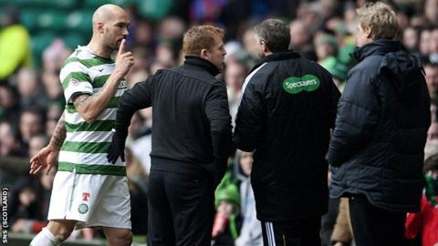 Majstorovic was shown a red card with 30 minutes remaining at Celtic Park