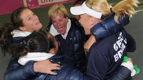 Britain's Fed Cup team celebrate victory in Israel