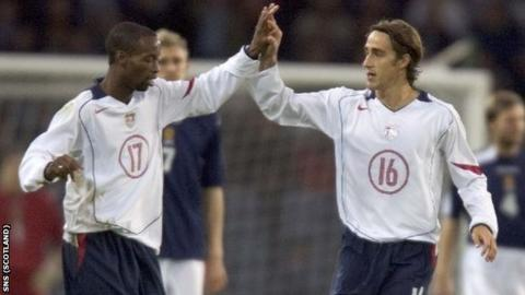 DaMarcus Beasley and Joshua Wolff celebrate at Hampden in 2005
