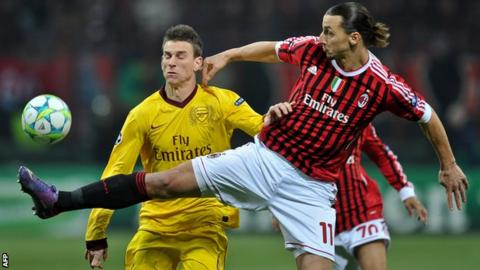 Laurent Koscielny in action against AC Milan's Zlatan Ibrahimovic