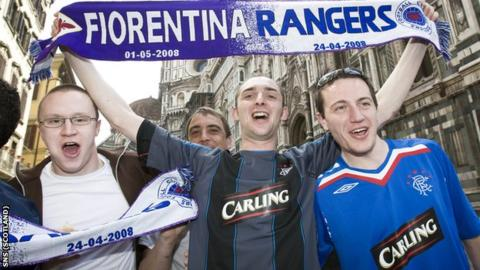 Rangers fans in Florence for their 2008 Uefa Cup meeting with Fiorentina