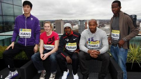China's Liu Xiang, Great Britain's Holly Bleasdale and Mo Farah, Jamaica;s Asafa Powell and Cuba;s Dayron Robles