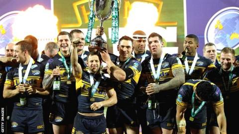 Leeds celebrate winning the 2012 World Club Challenge