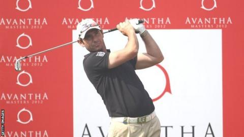 Peter Whiteford tees off in the Avantha Masters in New Delhi