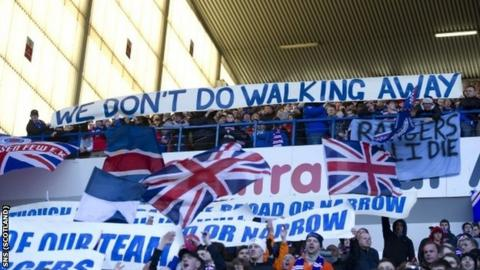 """McCoist's """"we don't do walking away"""" speech has been adopted by the fans"""