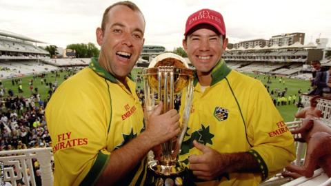 Darren Lehmann and Ricky Ponting with the 1999 World Cup trophy at Lord's