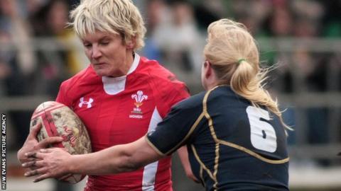 Wales' Phillippa Tuttiett takes on Scotland's Tess Forsberg during the victory at Cross Keys