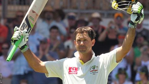 Ricky Ponting celebrates reaching 200 against India at Adelaide