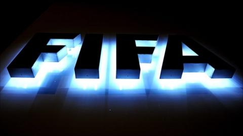 The Fifa logo outside Fifa headquarters in Switzerland
