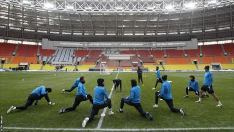 Real Madrid players attend a training session before their Champions League last 16 first- leg match against CSKA Moscow at the Luzhniki stadium in Moscow