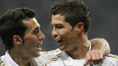 Real Madrid's Cristiano Ronaldo (right) celebrates after scoring against CSKA Moscow with team-mate Alvaro Arbeloa