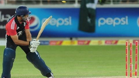 Ravi Bopara is bowled by Umar Gul