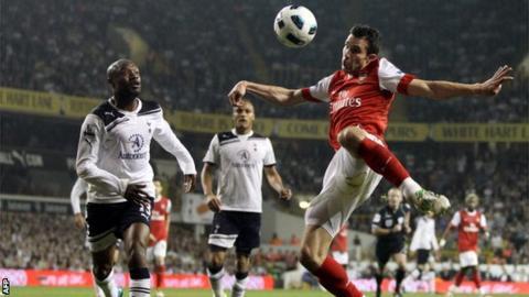 Robin van Persie in action against Spurs