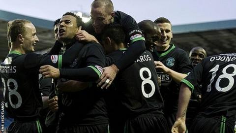 Hibernian celebrate Tom Soares' second goal at Rugby Park