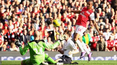 Arsenal's Theo Walcott scores his first goal of the game against Tottenham