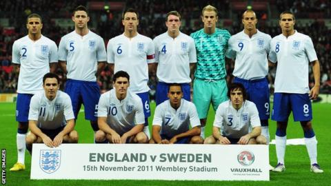 England line-up against Sweden