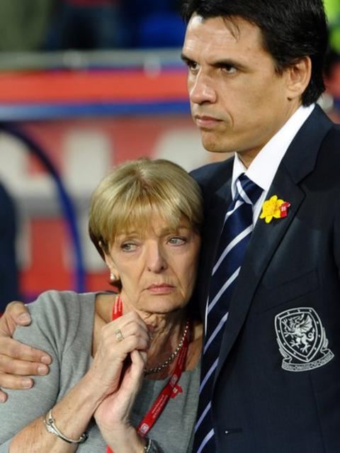 Chris Coleman consoles Gary Speed's mother Carol