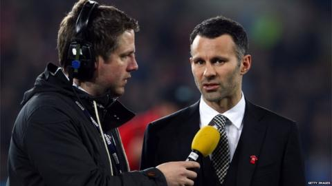 Ryan Giggs is interviewed at half time during the Gary Speed Memorial International Match between Wales and Costa Rica at the Cardiff City Stadium. Photo by Julian Finney/Getty Images