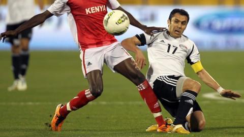 Ahmed Hassan wins his 179th international cap against Kenya