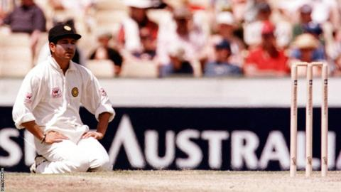 Sachin Tendulkar looks disconsolate during a Test against Australia while captaining India