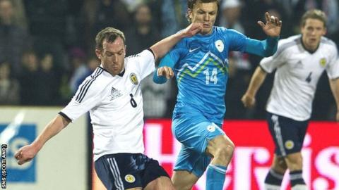 Charlie Adam in action for Scotland in Slovenia
