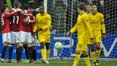 AC Milan beat Arsenal 4-0 in the first leg of their last 16 tie