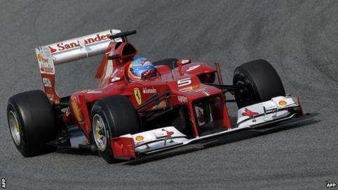 """Ferrari""""s Spanish driver Fernando Alonso takes part in the Formula 1 test days at Catalunya""""s racetrack in Montmelo, near Barcelona on March 4."""