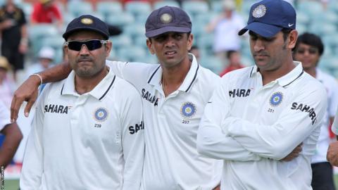 Virender Sehwag, Rahul Dravid and Mahendra Dhoni