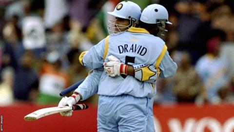 Sourav Ganguly and Rahul Dravid hug during a World Cup match against Sri Lanka at Taunton in 1999