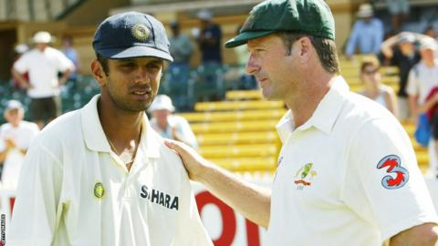 Rahul Dravid and Australia captain Steve Waugh
