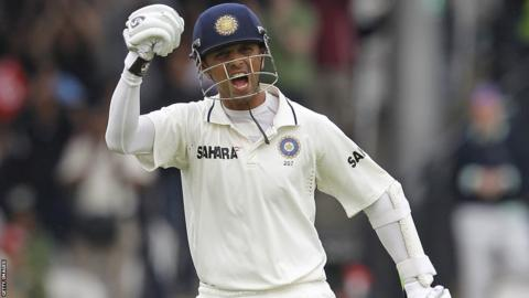 Rahul Dravid celebrates after reaching his century at Lord's