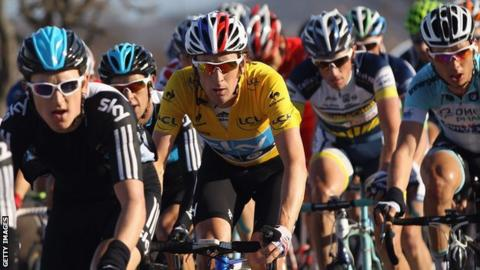 Bradley Wiggins (in yellow) in Saturday's penultimate stage