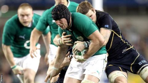 Stephen Ferris goes on another rampaging run in the game against Scotland